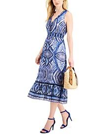Printed Voile A-Line Midi Dress