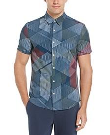 Men's Big and Tall Slim Fit Linear Geo Shirt