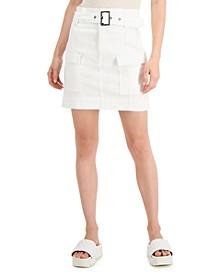 Juniors' Belted Cargo Skirt