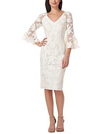 Soutache-Trim Bell-Sleeve Dress