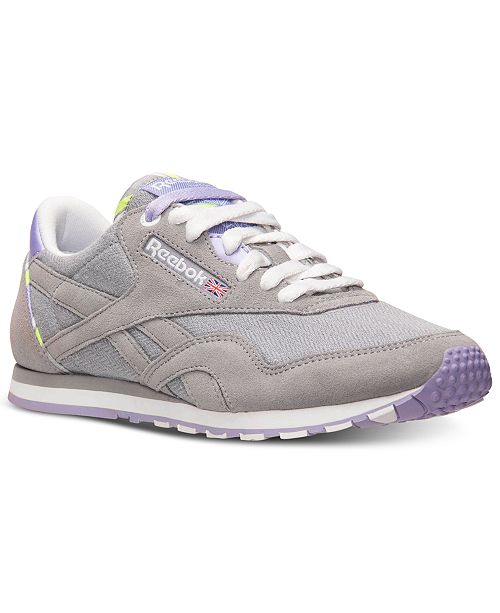 pretty nice ac9d9 bd0bd ... Reebok Women s Classic Nylon Slim Jacquard Casual Sneakers from Finish  ...