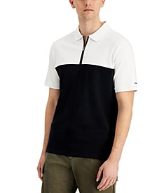 Men's Classic-Fit Colorblocked 1/4-Zip Polo Shirt, Created for Macy's