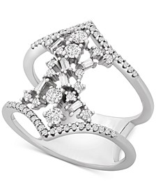 Diamond Scatter Cluster Openwork Statement Ring (1/2 ct. t.w.) in 10k White Gold