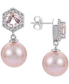 Pink Cultured Freshwater Pearl (9mm) & Multi-Gemstone (1/5 ct. t.w.) Drop Earrings in Sterling Silver
