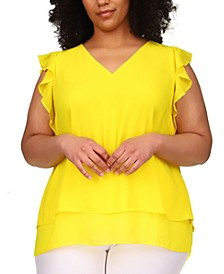Plus Size Flutter-Sleeve Layered Top