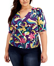 INC Plus Size Printed Puff-Sleeve Cotton Top, Created for Macy's