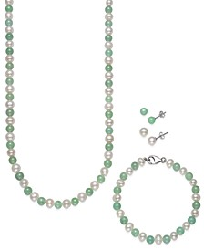 4-Pc. Set Jade & Cultured Freshwater Statement Necklace, Matching Bracelet & Stud Earrings in Sterling Silver (Also in Onyx & Cultured Freshwater Pearl)