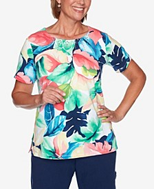 Plus Size Island Hopping Tropical Watercolor Top