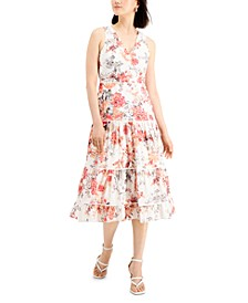 Plus Size Floral-Print Tiered Dress