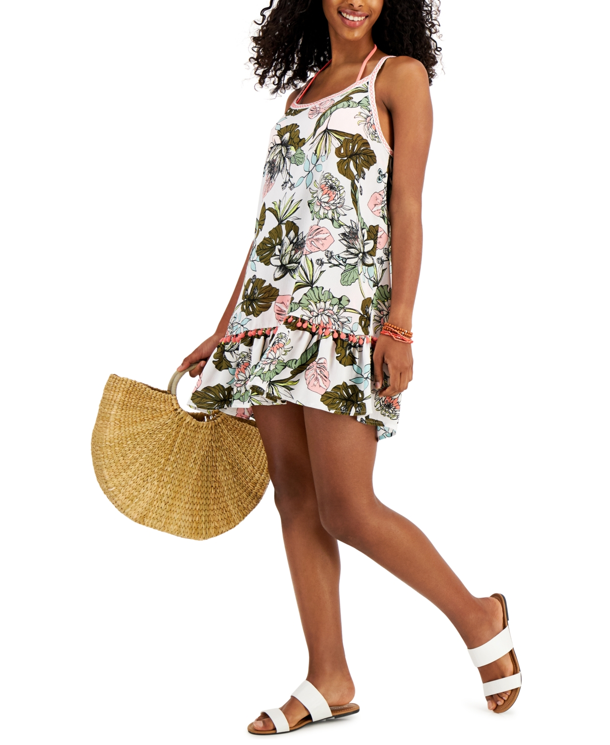 Miken Juniors' Tiered Pom Pom Cover-Up Dress, Created for Macy's Women's Swimsuit