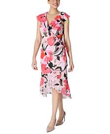 Floral-Print Side-Shirred Asymmetrical-Hem Dress