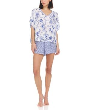 Anaya Caftan-Style Top and Shorts Mixed-Print Pajama Set