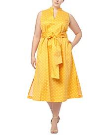 Plus Size Beekman Dot-Print Midi Dress