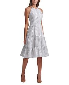 Tiered Dot-Print Midi Dress