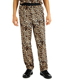 Men's Regular-Fit Leopard-Print Track Pants, Created for Macy's