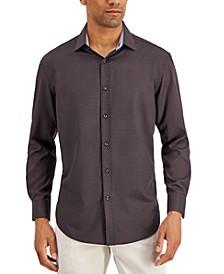 Men's Slim-Fit No-Iron Performance Stretch Black Dot Print Dress Shirt
