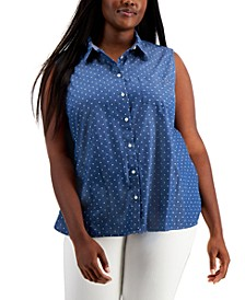 Plus Size Spotted Chambray Sleeveless Blouse