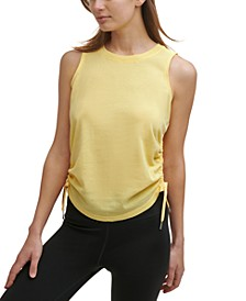 Women's Textured Ruched Side Tie Tank Top