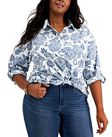 Plus Size Roll Tab Floral Button Down Blouse