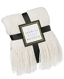 "Decorative Diamond Pattern Knit Throw Blanket with Fringe, 60"" x 50"""
