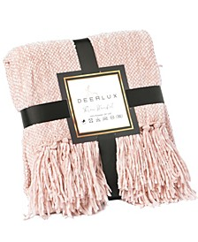 """Decorative Chenille Throw Blanket with Fringe, 60"""" x 50"""""""