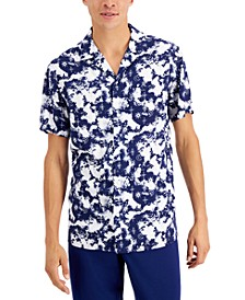 Men's Regular-Fit Tie-Dyed Celestial-Print Camp Shirt, Created for Macy's