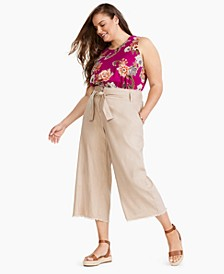 Plus Size Belted Frayed-Hem Culottes, Created for Macy's