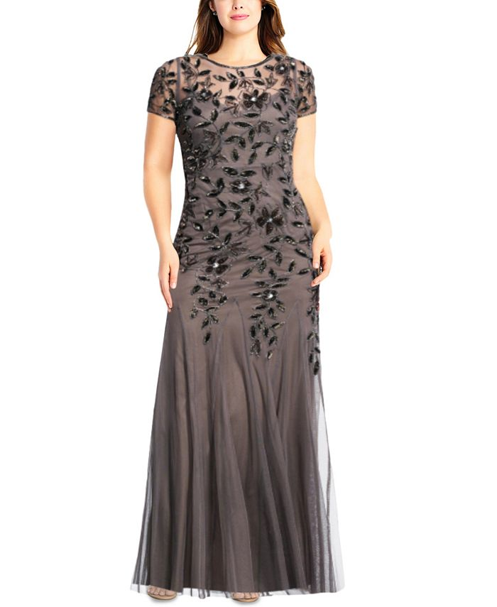 Adrianna Papell - Plus Size Floral-Beaded Gown