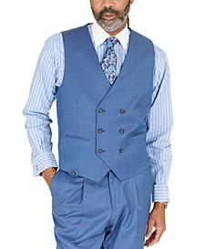 Men's Blue Solid Classic-Fit Wool Suit Separate Vest