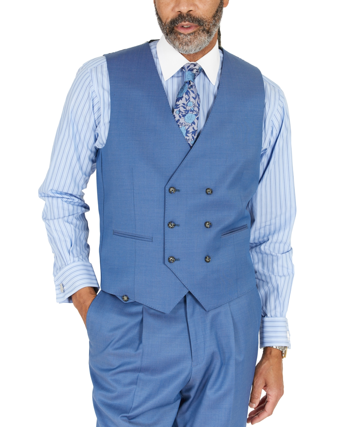 1920s Men's Style Clothing Tayion Collection Mens Blue Solid Classic-Fit Wool Suit Separate Vest $125.00 AT vintagedancer.com