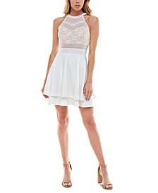 Juniors' Lace-Top A-Line Dress