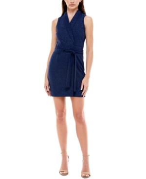 Juniors' Glitter Belted Scuba-Crepe Dress
