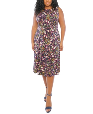 Plus Size Floral-Print Inset-Waist Midi Dress