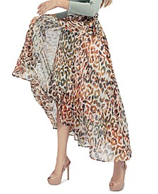 Verity Animal-Print Faux-Wrap Skirt