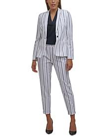 Striped One-Button Blazer, V-Neck Sleeveless Blouse, and Striped Slim-Fit Plants