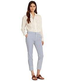 Cropped Cotton Seersucker Pants