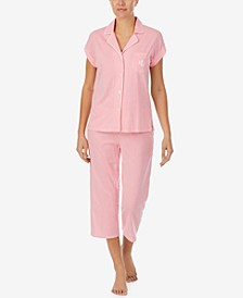 Petite Striped Knit Capri Pants Pajama Set
