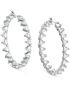 "Silver-Tone Medium Crystal Trillion Hoop Earrings, 1.73"""