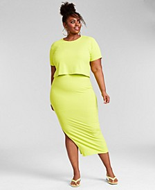 Trendy Plus Size Ribbed Cropped T-Shirt & Midi Skirt, Created for Macy's