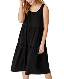 Organic Linen Scoop-Neck Tiered Dress
