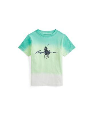 폴로 랄프로렌 Polo Ralph Lauren Little Boys Dip-Dyed Cotton Jersey Graphic Tee,White Dip Dye Multi