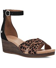 Women's Eugenia Leopard-Print Wedge Sandals