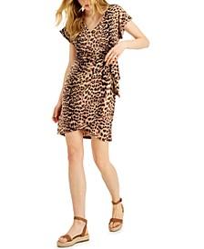 INC Cheetah-Print Faux-Wrap Dress, Created for Macy's