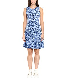 Printed Sleeveless Ruffled-Hem Dress