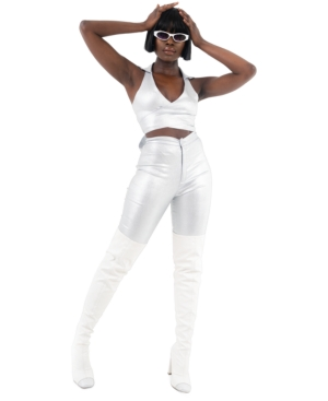 Grayscale Shimmer Cropped Vest