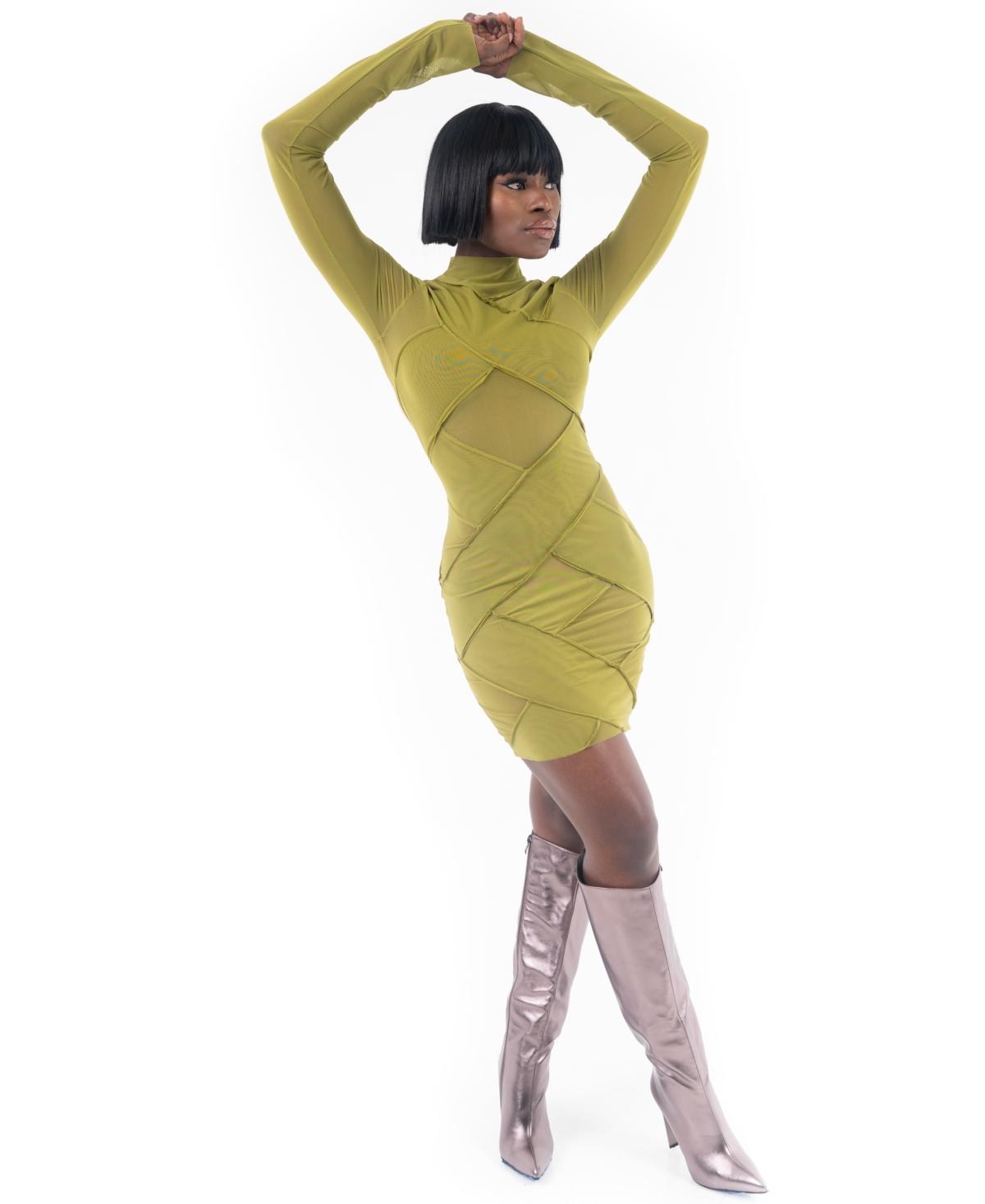 Grayscale Crisscross Mesh Mini Dress
