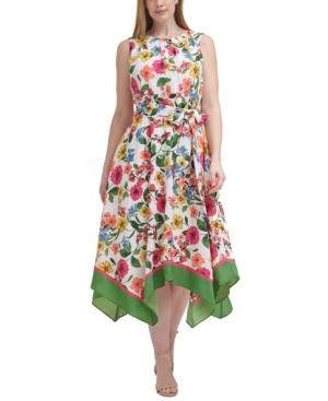 Plus Size Floral-Print Handkerchief-Hem Midi Dress