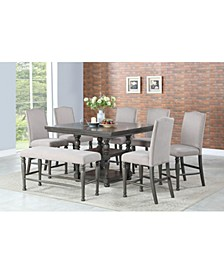 Coralie Dining 8-Pc Set( Counter Height Table + 6 Side chairs + Bench)