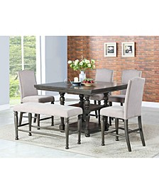 Coralie Dining 6-Pc Set ( Counter Height Table + 4 Side Chairs + Bench)