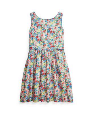 폴로 랄프로렌 Polo Ralph Lauren Big Girls Floral Poplin Dress,Yellow Floral Multi